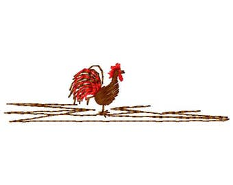 Rooster Machine Embroidery Design - Instant Download