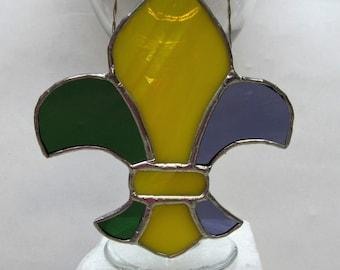 Fancy Fleur-de-Lis - Mardi Gras Stained Glass Suncatcher - Silver Finish - Carnival Decor - Fat Tuesday - New Orleans Saints