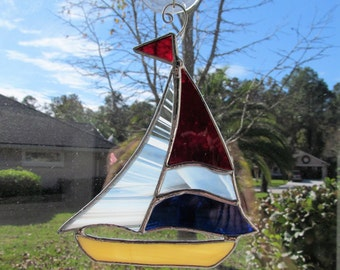 Nautical Sailboat Sun Catcher - Handcrafted Authentic Stained Glass - Nautical Decor  - Beach House - Large Size - Red & Cobalt Blue Sail