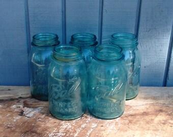 Vintage Ball Jars - Blue Mason Jars - 1923 to 1933 Ball Jars