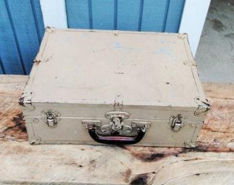 Vintage Metal Trunk - Storage Trunk - Farmhouse Decor