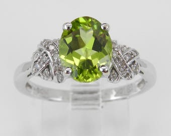 Peridot and Diamond Engagement Ring White Gold Size 7 August Birthstone Promise