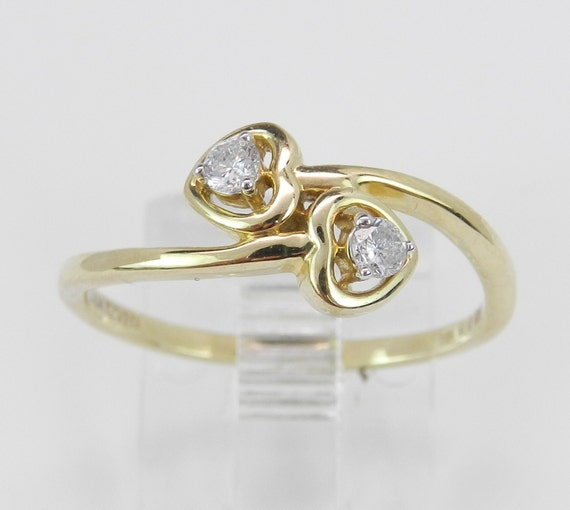 Diamond Heart Ring Bypass Midi Ring Yellow Gold Size 7 Great Gift