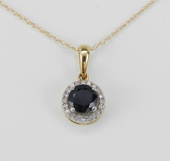 "Diamond and Sapphire Halo Pendant Wedding Necklace 14K Yellow Gold 18"" Chain"