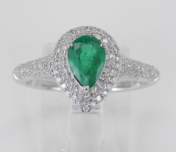 Diamond and Emerald Halo Engagement Ring 14K White Gold Size 7 May Birthstone