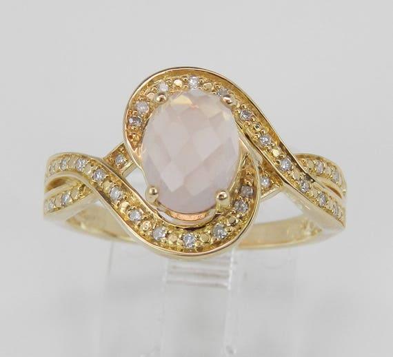 14K Yellow Gold Diamond and Rose Quartz Engagement Promise Ring Size 7