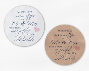 Shower the Mr and Mrs Wedding Favor Petal Toss Stickers - Navy and Blush Custom White Or Kraft Round Labels for Bag Seals, Envelopes (2032)