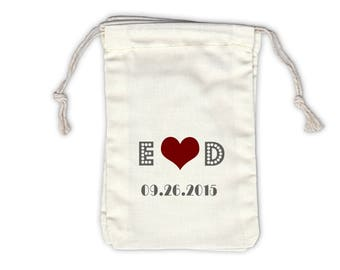 Initials Heart and Date on Broadway Cotton Bags for Wedding Favors in Dark Red and Gray - Ivory Fabric Drawstring Bags - Set of 12 (1034)