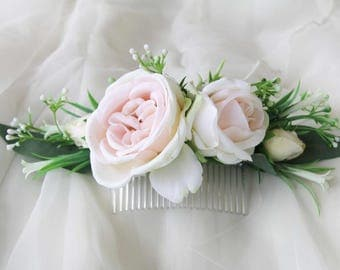 Silk Flower hair comb Peachy cream roses, wildflowers. Bridal hair comb, Wedding hair accessories, Hair flowers for photoshoot, party, races