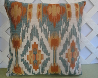 Ikat Pillow Cover in Blue Orange Gold Ivory / Geometric Pillow / Blue Orange Pillow / Accent Pillow / Decorative Pillow / 18 x 18 Pillow