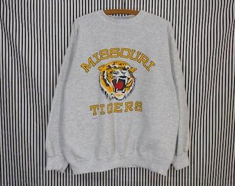 Vintage MIZZOU University of Missouri Tigers Heather Gray Sweatshirt Men's XL / Women's Oversize
