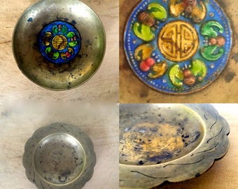 Antique brass dish