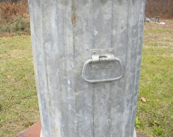 scarce nice strong 1940s super heavy gauge galvanized metal and steel INDUSTRIAL GARBAGE WASTE trash can pick up only