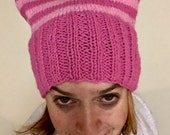 Pink Pussyhat: stripes! Medium pink band
