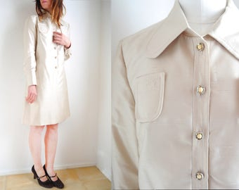 Vintage 60s Mini  Dress Long sleeve collared Satin Dress Champagne beige Long Sleeve Shirt dress Collar dress 60s 70s mod fashion