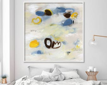 """large ABSTRACT print, Giclée print of abstract painting, up to 40x40"""", modern Acrylic Painting, beige, brown, blue, yellow, neutrals"""