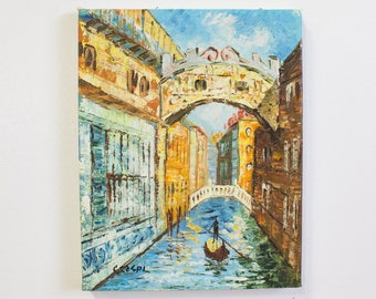 Impressionist Painting of The Canals of Venice, Vintage Scenic Art.