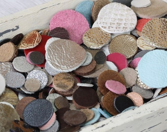 100 pcs Mixed Leather Circles,  Mixed Sizes, Suede, Metallic Genuine  Leather Die Cut