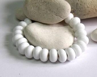 White, Lampwork Spacer Beads, SRA, UK