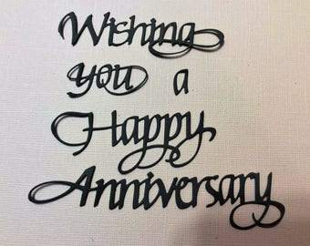Handmade, 3 Wishing You a Happy Anniversary, Die Cuts, Sizzix, Black, Gray, Light Orange, Cards, Scrapbooking,