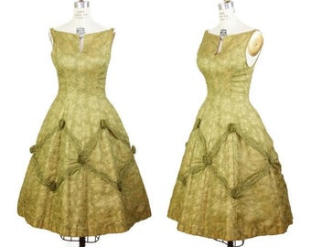 SPRING SALE 1950s Dress // Green Embroidered Party Dress with Organdy Rosettes