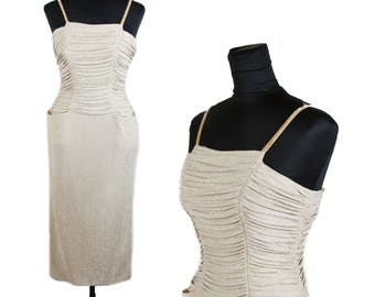 1950s Dress // Silver Lurex Bombshell Ruched Body Hugging Glamour Girl Dress