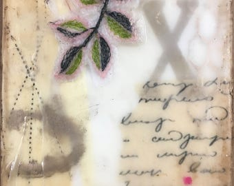 Encaustic Mixed Media Small Art Text Poetry Twig Leaf Sweetness