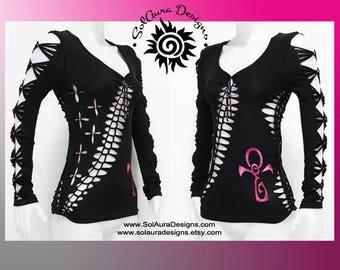 ANKH IN WINE -  Junior / Womens Shredded Top, Long Sleeve Cut Up Black Top, Club Wear, Yoga Wear