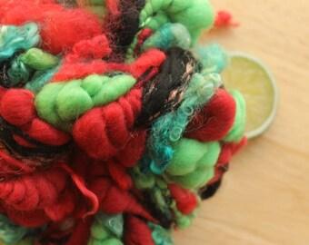 Christmas Chaos - Merino Handspun Coiled Art Yarn Red Black