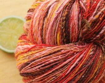 Marigold - Handspun Merino Wool Yarn Sparkle Pink Gold