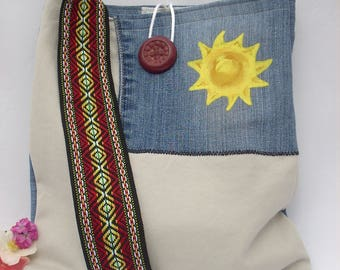 Upcycled Denim Bag - Sunshine Hand Painted Bag - Crossbody Fabric Handbag - Hippie Style Handbag -  Denim Purse - Jean Bag - Boho Chic Bag