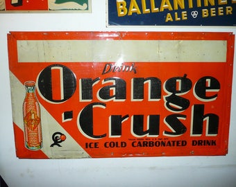 Drink Orange Crush Ice Cold Carbonated Drink 1930's Soda Pop Sign Crushy Mascot Rare Hard To Find Version
