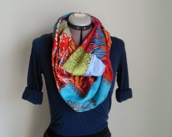 Colorful upcycled infinity scarf