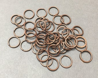 Split Jump Ring. Antiqued Copper. Large Jump Ring. Round Jump Ring. Connector. 14mm (10)