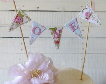 Girls First Birthday Cake Bunting Topper - Floral Tea Party - Smash Cake Photo Shoot