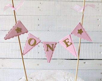 Girl's First Birthday Cake Bunting Topper - Pink & Gold Smash Cake Topper