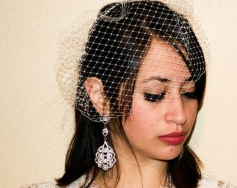 Wedding Birdcage Veil, White Birdcage Veil, Chic Birdcage Veil, Vow Veil, Ready to Ship Veil, Pink Birdcage Veil, Wedding Veils, Marti & Co