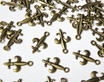 10 Fleur-de-Lis charms antique bronze 19x12mm PMLF1288Y