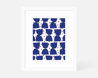 Mid Century Modern Art Large / Minimalist Modern Art Blue / Vertical Wall Art / Matted and Framed / 5x7 8x10 11x14 16x20 18x24