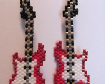 Hand beaded Red Guitar dangling earrings