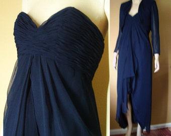 Vntg UNWORN ROSE TAFT Gown & Bolero Bust 35 Navy Strapless Gown wBolero Grecian Chiffon Overlay Prom