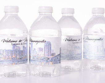 15 City Skyline Wedding Favor Box / Wedding Welcome Boxes with 30 matching Water Bottle Labels