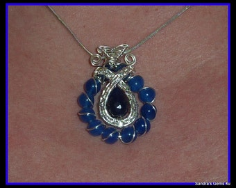 Blue Sapphire Pendant wire wrapped in Sterling Silver with woven bail, September birthstone