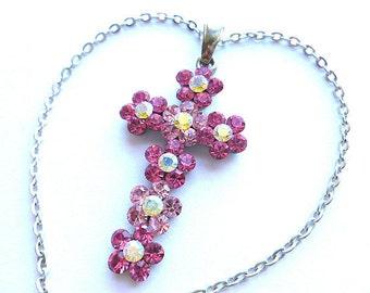 BE DAZZLING Pink Flower Vintage Cross, Twotone Pink Crystal Cross, Silvertone Pink Cross, 1980s Cross, Ladies Cross & Chain, Cross Necklace