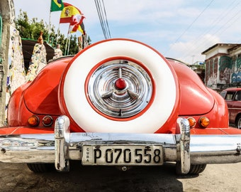"""Cuba Photography, """"Red Vintage Car"""", Travel Photography, Vintage Cars of Havana, Metallic Finish Print, Customizable Size Upon Request"""