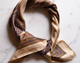 Daniel La Foret Silk Scarf, Square, Brown, Tan, Geometric Print