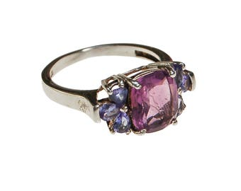 Amethyst and Tanzanite Gemstone Ring, Sterling Silver, Ring Size 8