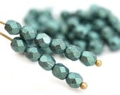 4mm Green glass beads, Metallic Suede czech beads, Fire polished spacers, round beads - 50Pc - 1436