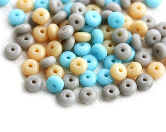 Pastel Beads mix, Czech rondelle beads, Blue, Beige, Grey, glass spacers, rondels - 4mm - approx. 90-100c - 1071