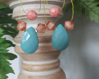 Floating Teal and Peach Teardrop Earrings